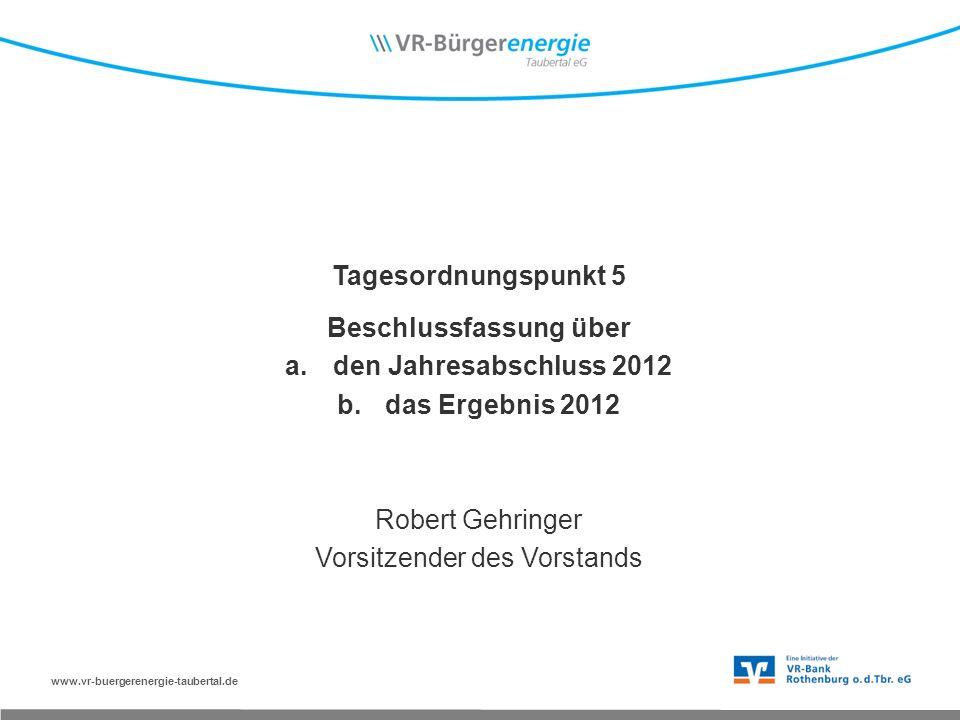 www.vr-buergerenergie-taubertal.de Tagesordnungspunkt 5 Beschlussfassung über a.den Jahresabschluss 2012 b.das Ergebnis 2012 Robert Gehringer Vorsitzender des Vorstands