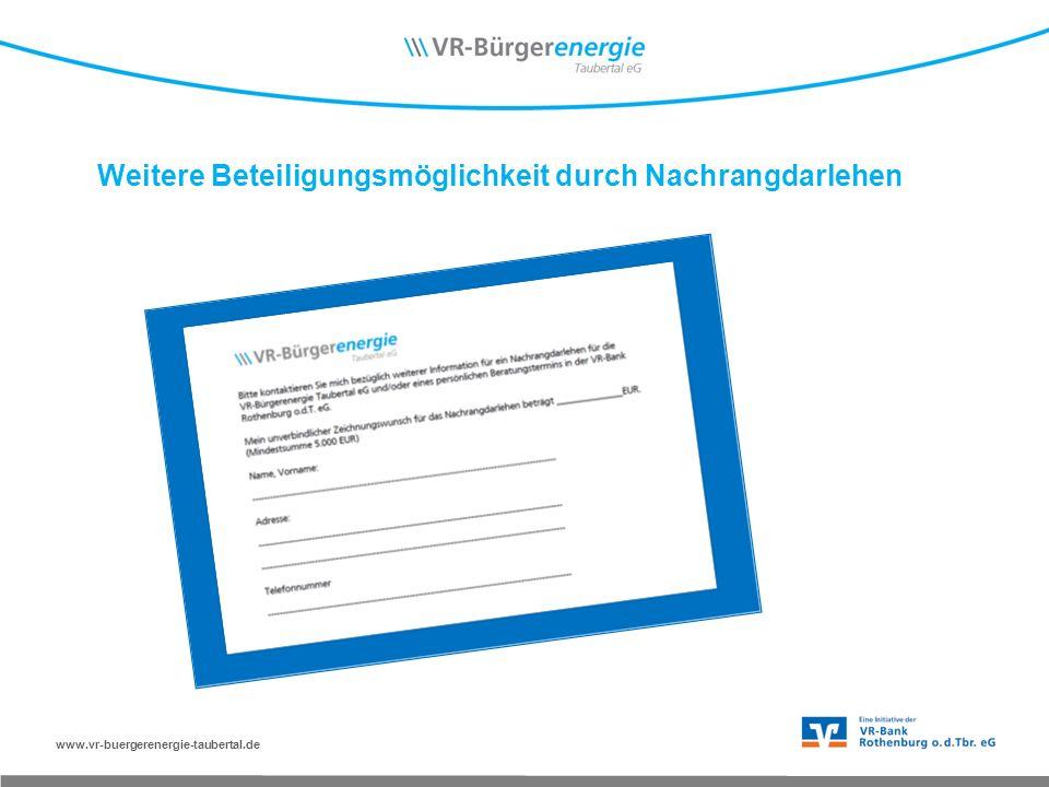 www.vr-buergerenergie-taubertal.de Weitere Beteiligungsmöglichkeit durch Nachrangdarlehen