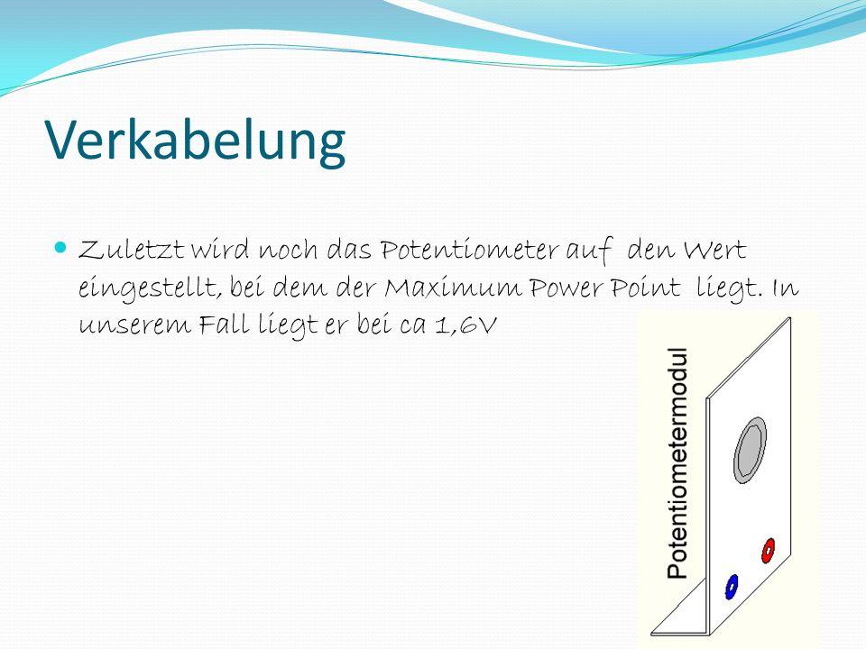 Zuletzt wird noch das Potentiometer auf den Wert eingestellt, bei dem der Maximum Power Point liegt.