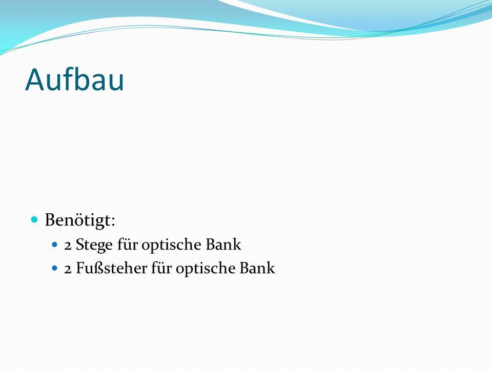 Aufbau Benötigt: 2 Stege für optische Bank 2 Fußsteher für optische Bank