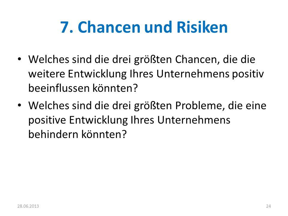 7. Chancen und Risiken Welches sind die drei größten Chancen, die die weitere Entwicklung Ihres Unternehmens positiv beeinflussen könnten? Welches sin