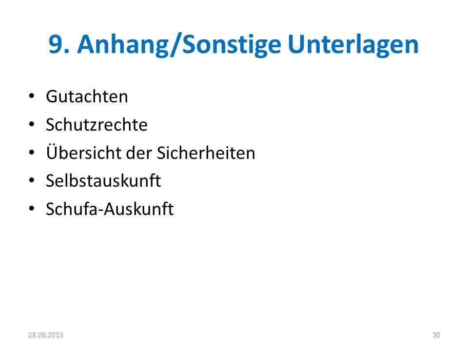 9. Anhang/Sonstige Unterlagen Gutachten Schutzrechte Übersicht der Sicherheiten Selbstauskunft Schufa-Auskunft 3028.06.2013