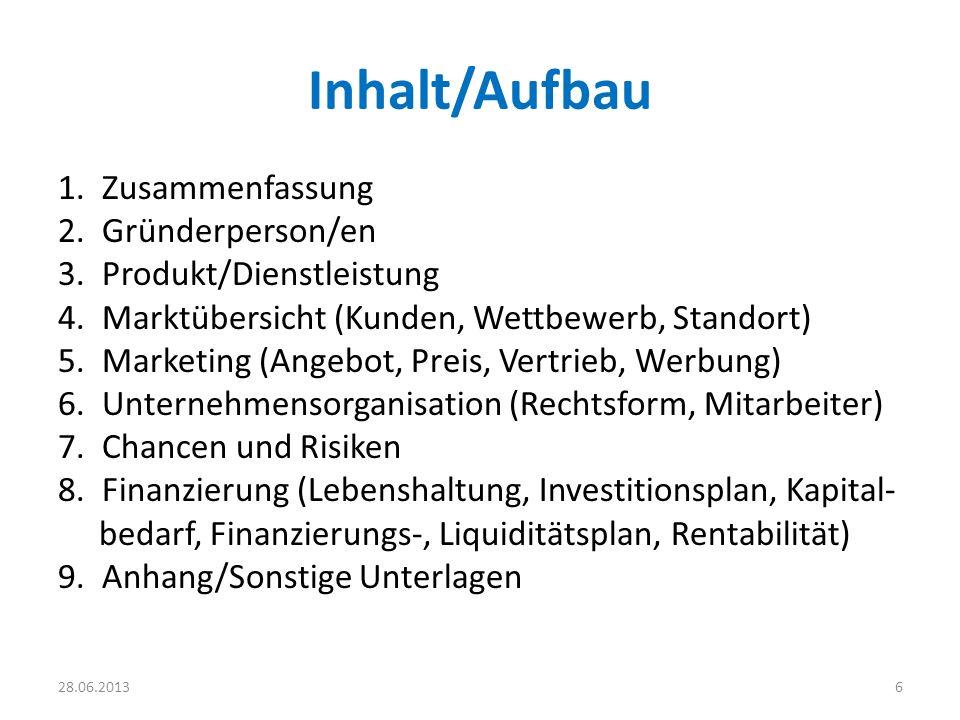 Inhalt/Aufbau 1. Zusammenfassung 2. Gründerperson/en 3. Produkt/Dienstleistung 4. Marktübersicht (Kunden, Wettbewerb, Standort) 5. Marketing (Angebot,