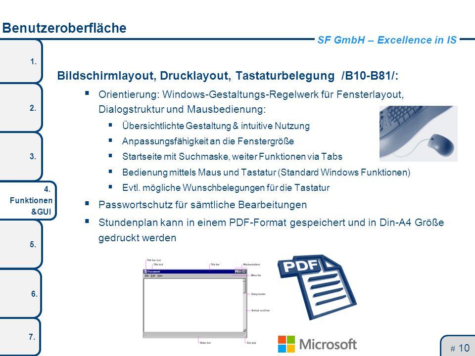SF GmbH – Excellence in IS 1. 2. 3. 5. 4. Funktionen &GUI 6. 7. Benutzeroberfläche Bildschirmlayout, Drucklayout, Tastaturbelegung /B10-B81/: Orientie