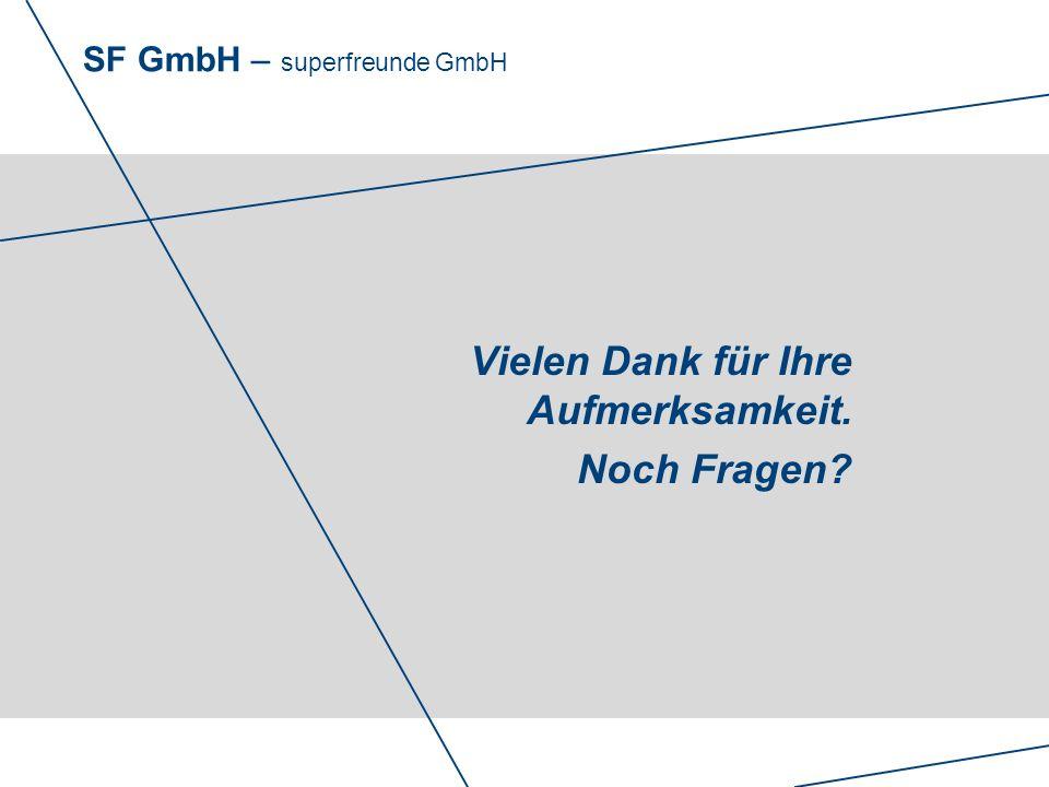 SF GmbH – superfreunde GmbH Vielen Dank für Ihre Aufmerksamkeit. Noch Fragen?