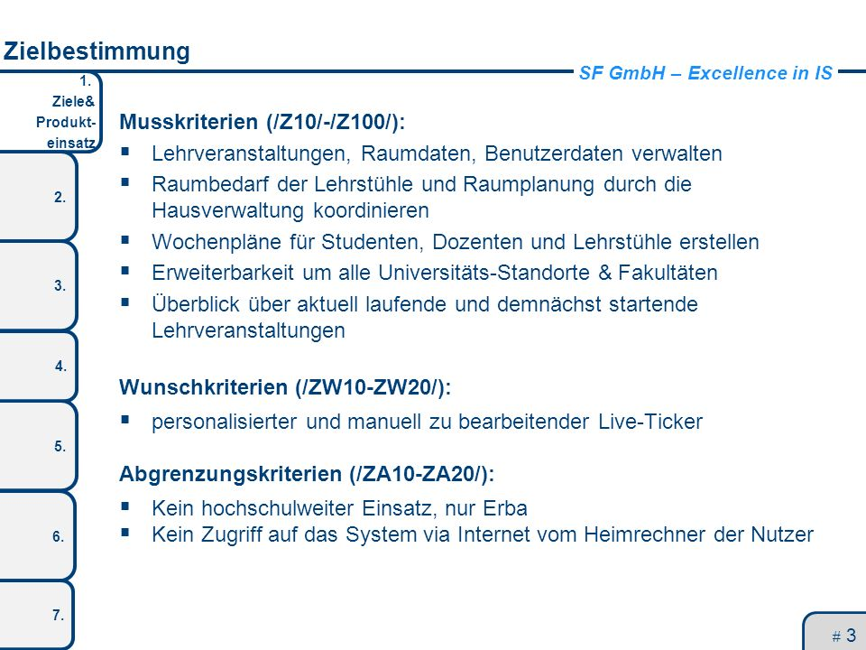 SF GmbH – Excellence in IS 1. Ziele& Produkt- einsatz 2. 3. 5. 4. 6. 7. Zielbestimmung Musskriterien (/Z10/-/Z100/): Lehrveranstaltungen, Raumdaten, B