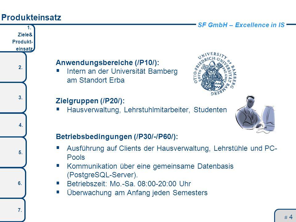 SF GmbH – Excellence in IS 1. Ziele& Produkt- einsatz 2. 3. 5. 4. 6. 7. Produkteinsatz # 4 Anwendungsbereiche (/P10/): Intern an der Universität Bambe