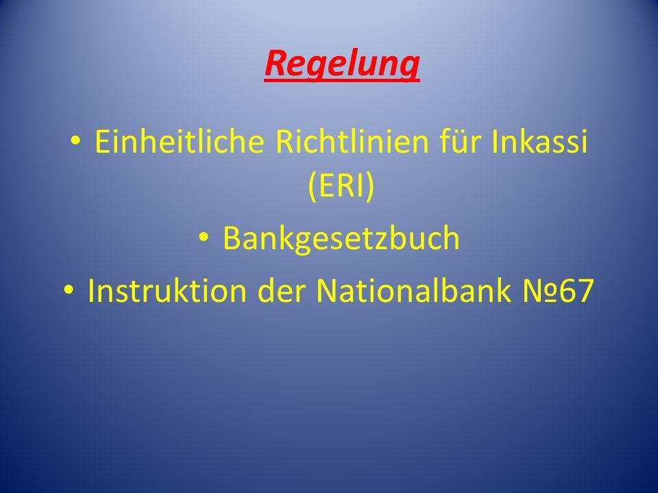 Regelung Einheitliche Richtlinien für Inkassi (ERI) Bankgesetzbuch Instruktion der Nationalbank 67