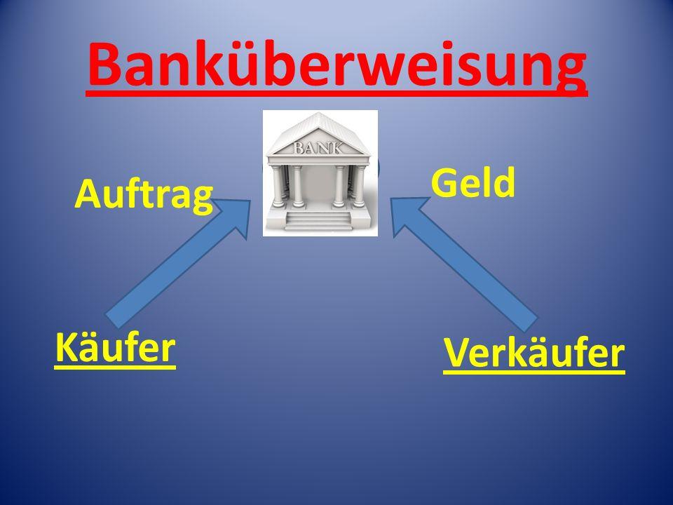 Banküberweisung Auftrag BANK Geld Käufer Verkäufer
