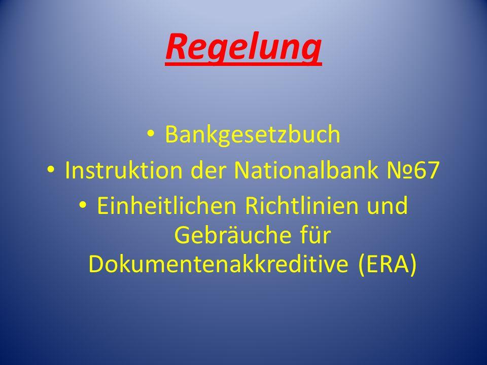 Regelung Bankgesetzbuch Instruktion der Nationalbank 67 Einheitlichen Richtlinien und Gebräuche für Dokumentenakkreditive (ERA)
