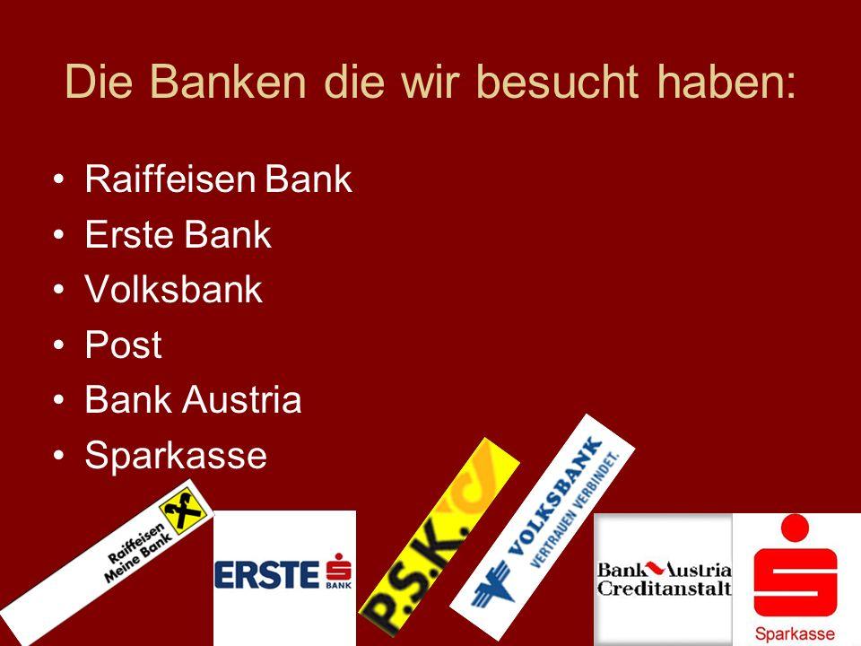 Die Banken die wir besucht haben: Raiffeisen Bank Erste Bank Volksbank Post Bank Austria Sparkasse