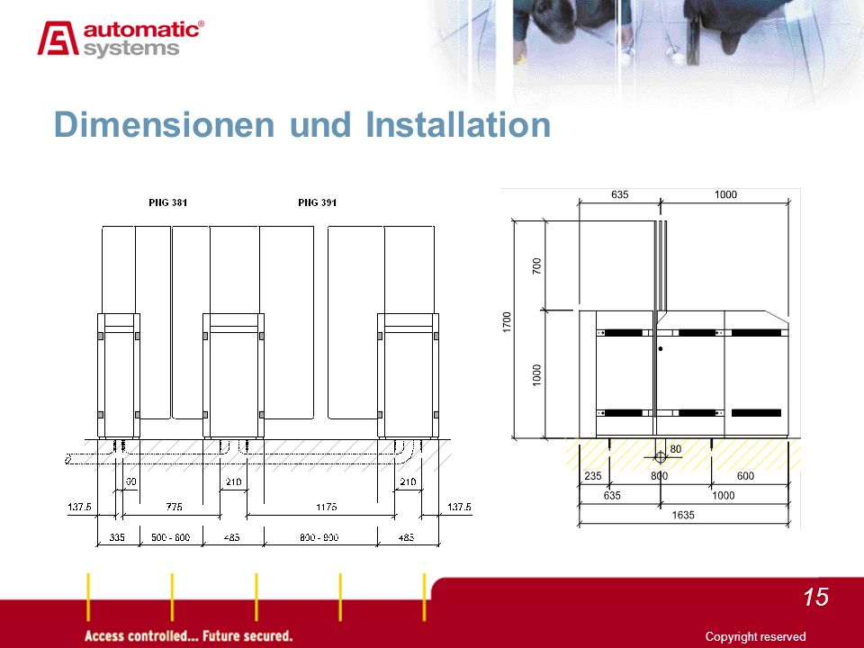 15 Copyright reserved Dimensionen und Installation