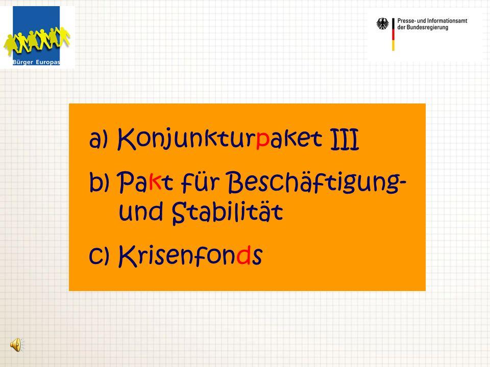a) Konjunkturpaket III b) Pakt für Beschäftigung- und Stabilität c) Krisenfonds