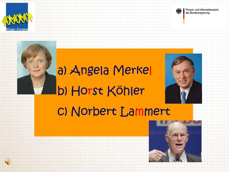 a) Angela Merkel b) Horst Köhler c) Norbert Lammert