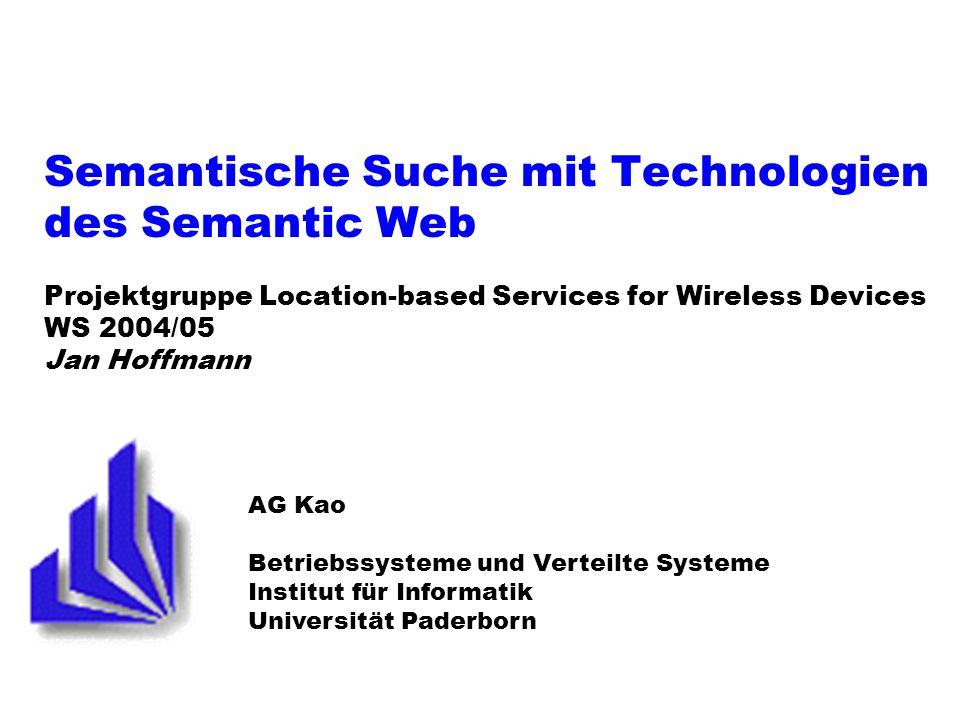 PG LBS: Semantische Suche 12 28.10.2003 RDF (2) Subject Object Literal Predicate #Lynne #Mike 33 #age #knows Wichtig: Eindeutige Bezeichnung der Konzepte/Resourcen Dafür URI verwenden: www.domain.org/ns/#concept Standardverzeichnisse für Konzepte verfügbar: Z.B.
