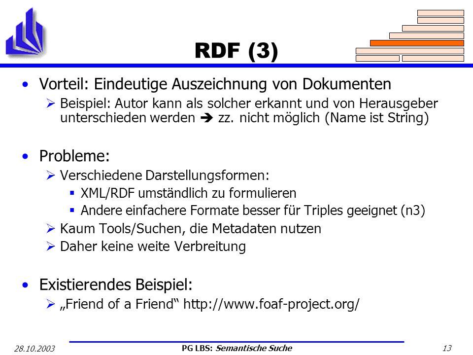 PG LBS: Semantische Suche 13 28.10.2003 RDF (3) Vorteil: Eindeutige Auszeichnung von Dokumenten Beispiel: Autor kann als solcher erkannt und von Herau