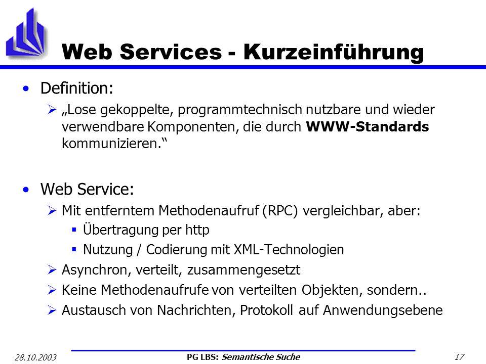 PG LBS: Semantische Suche 17 28.10.2003 Web Services - Kurzeinführung Definition: Lose gekoppelte, programmtechnisch nutzbare und wieder verwendbare K