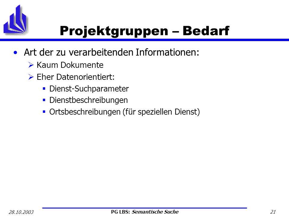 PG LBS: Semantische Suche 21 28.10.2003 Projektgruppen – Bedarf Art der zu verarbeitenden Informationen: Kaum Dokumente Eher Datenorientiert: Dienst-S