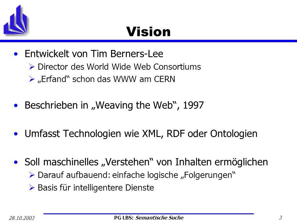 PG LBS: Semantische Suche 4 28.10.2003 Problem Informationen im WWW zurzeit schlecht auffindbar: Markup von Dokumenten erfüllt Doppelfunktion: Prozedual: Semantische Auszeichnung von Elementen z.B.