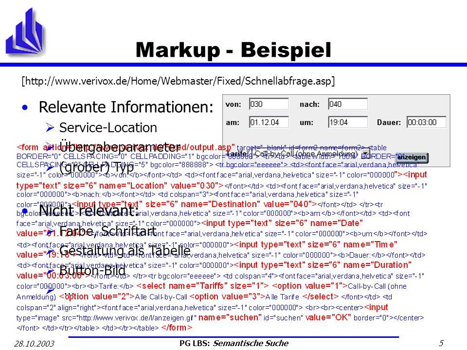 PG LBS: Semantische Suche 16 28.10.2003 OWL - Probleme Web ist nicht zentral organisiert: Verschiedene Sites können verschiedene Definitionen des semantisch gleichen Dinges anbieten Dies ist Design-Ziel und soll Flexibilität erhöhen Zusammenführung erfolgt dann auf Ontologieebene Ergo: Semantischer Suchdienst muss (alle) Ontologien kennen Das Problem ist nur eine Ebene verschoben worden.