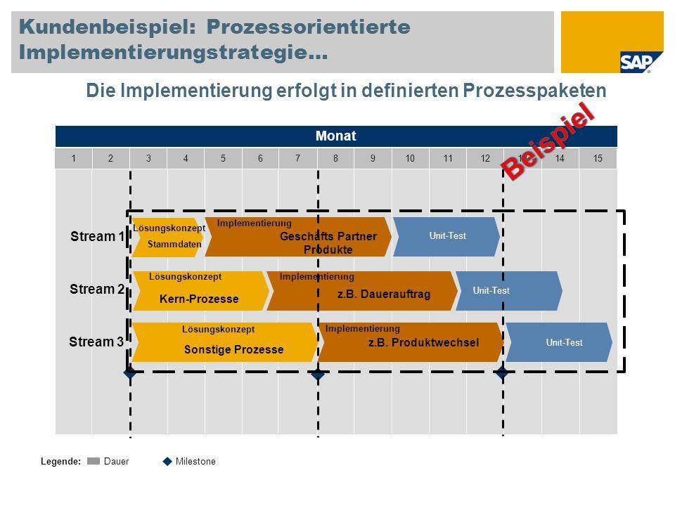 Kundenbeispiel: Prozessorientierte Implementierungstrategie… Monat 1234567891011121314 15 Legende: DauerMilestone Stream 1 Stream 2 Stream 3 Lösungsko