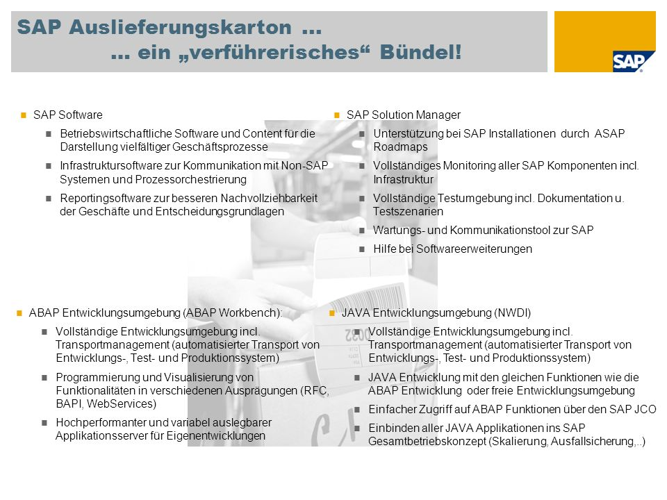 Das Liefermodell der SAP Integrated Service Delivery (ISD) für effiziente Implementierung Combination of delivery of the following in combination Local consulting Regional Global (Global Delivery, service factory,..) Combination of Remote On site Selling Bill of Service Reusing productized services Agreed results, fixed price, fixed time Das Liefermodell ermöglicht eine kundenspezifische Kombination lokaler und globaler Ressourcen sowie die Nutzung produktisierter Services zur Erhöhung der Effizienz und Qualität.