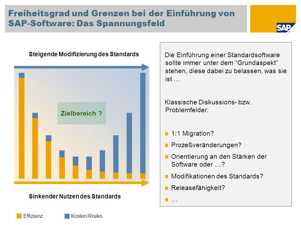 Freiheitsgrad und Grenzen bei der Einführung von SAP-Software: Das Spannungsfeld Sinkender Nutzen des Standards Steigende Modifizierung des Standards