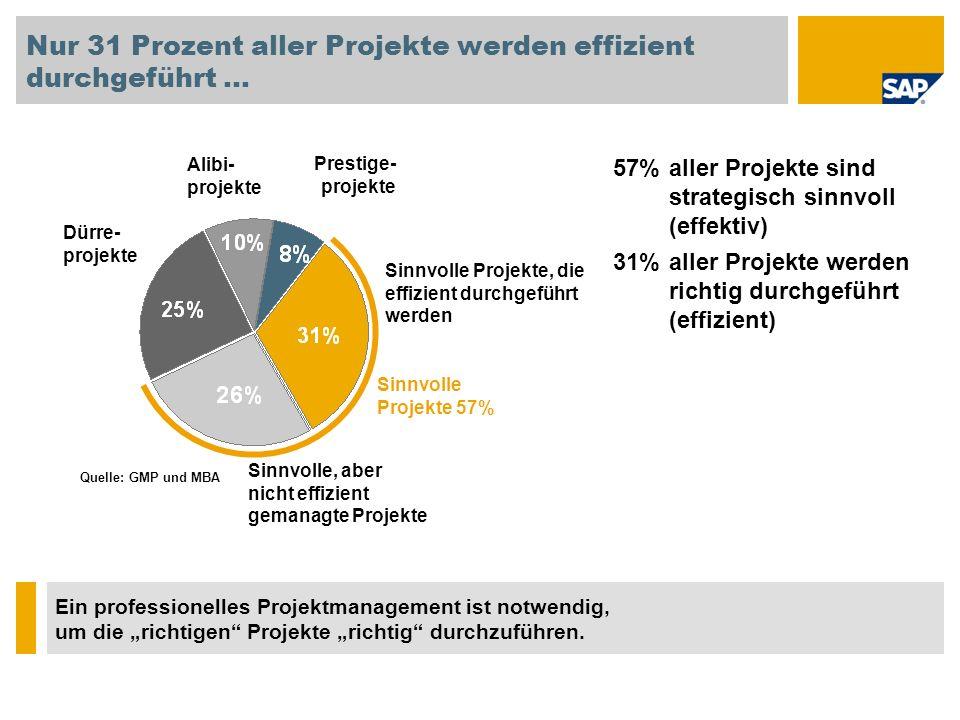 57% aller Projekte sind strategisch sinnvoll (effektiv) 31% aller Projekte werden richtig durchgeführt (effizient) Nur 31 Prozent aller Projekte werde