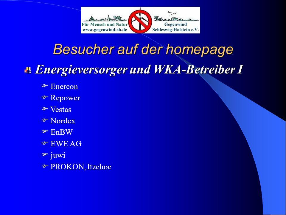 Besucher auf der homepage Energieversorger und WKA-Betreiber II Essent GmbH u.a.