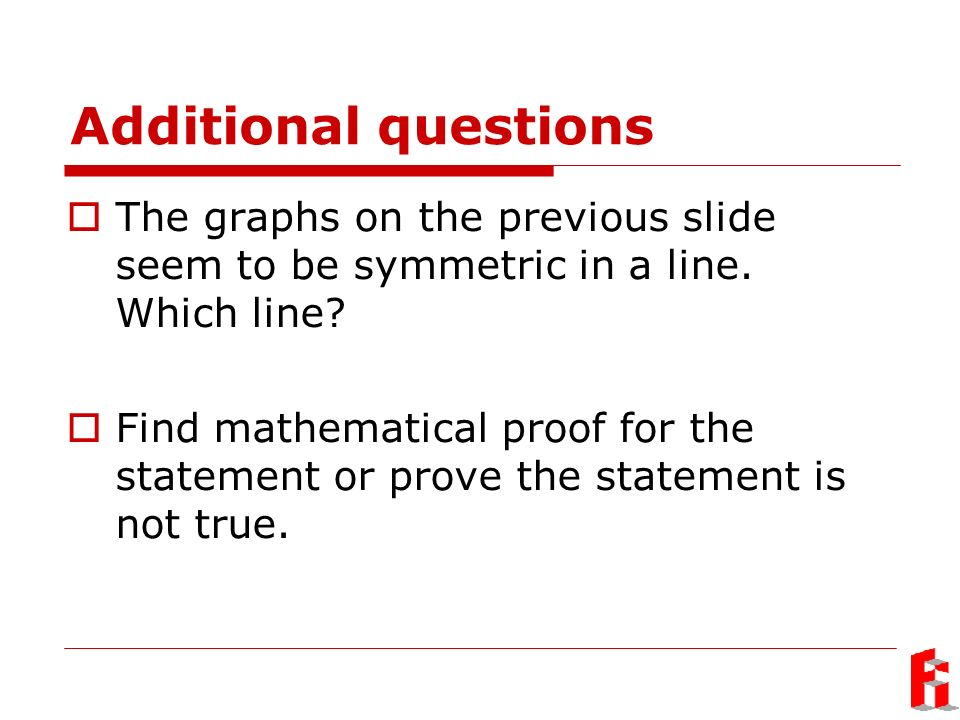 Additional questions The graphs on the previous slide seem to be symmetric in a line.