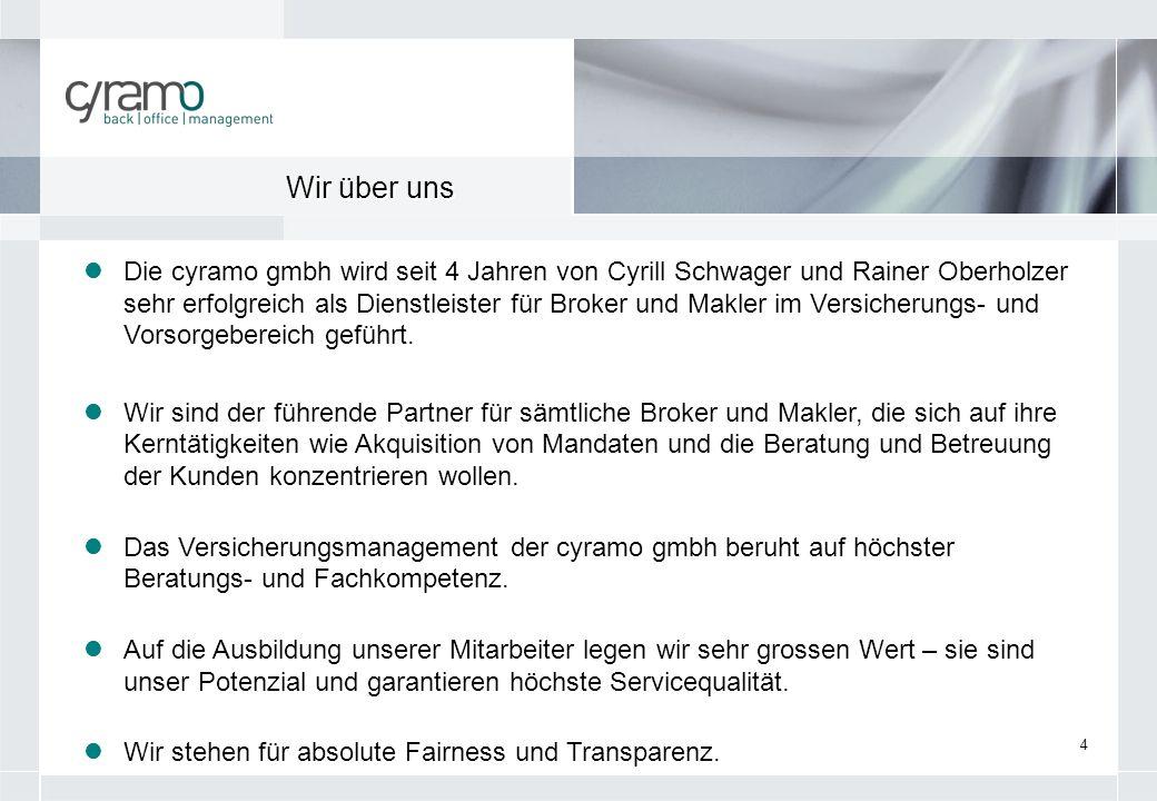 4 Die cyramo gmbh wird seit 4 Jahren von Cyrill Schwager und Rainer Oberholzer sehr erfolgreich als Dienstleister für Broker und Makler im Versicherun