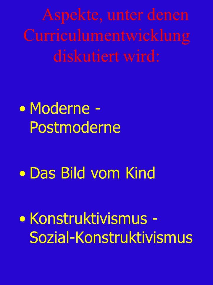 Aspekte, unter denen Curriculumentwicklung diskutiert wird: Moderne - Postmoderne Das Bild vom Kind Konstruktivismus - Sozial-Konstruktivismus