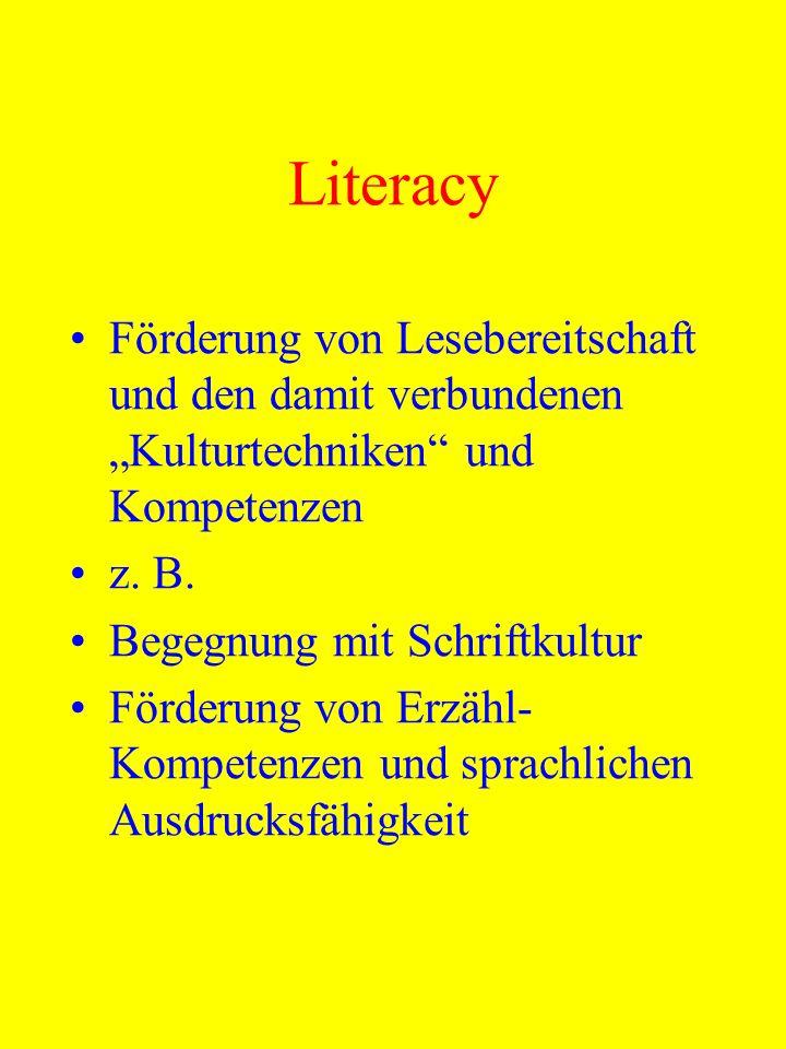 Literacy Förderung von Lesebereitschaft und den damit verbundenen Kulturtechniken und Kompetenzen z. B. Begegnung mit Schriftkultur Förderung von Erzä