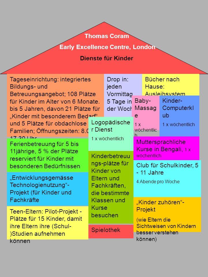 Tageseinrichtung: integriertes Bildungs- und Betreuungsangebot; 108 Plätze für Kinder im Alter von 6 Monate. bis 5 Jahren, davon 21 Plätze für Kinder