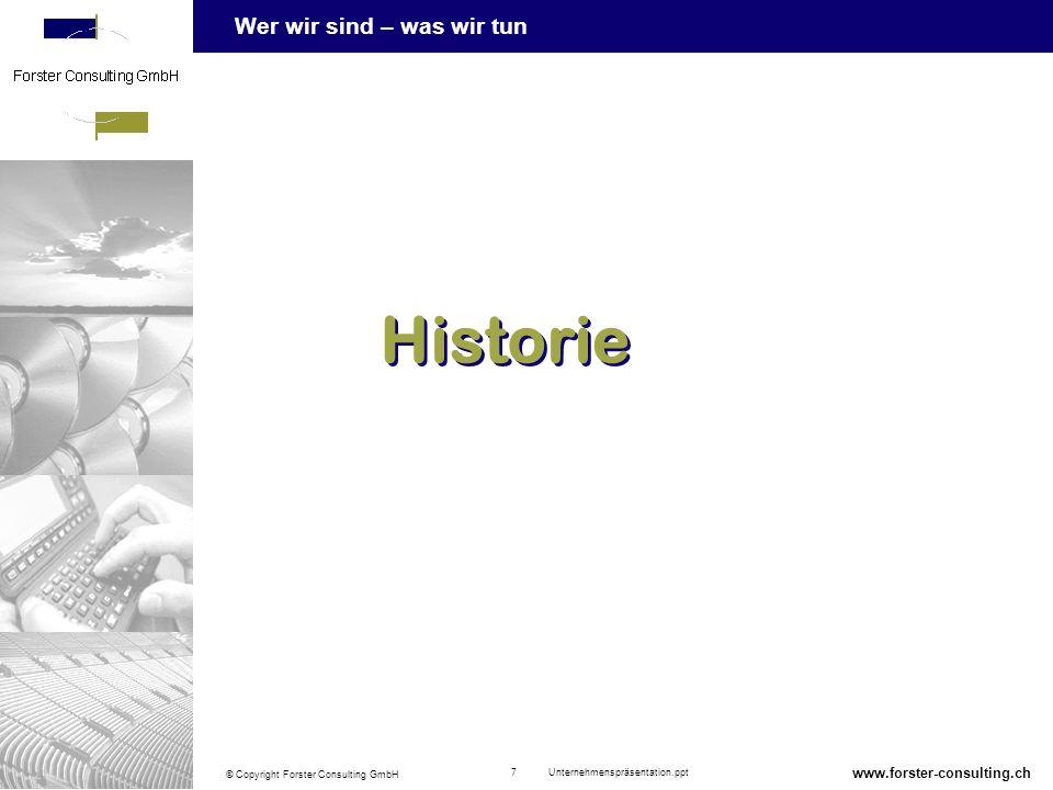 Wer wir sind – was wir tun © Copyright Forster Consulting GmbH 18 Unternehmenspräsentation.ppt www.forster-consulting.ch Dienstleistung «IT-Consulting» Vorstudie SWOT-Analyse Anforderungsspezifikation / Use-Case Modellierung Informationsbeschaffungs- konzept Make or Buy-Entscheid Vorevaluation / Marktscreening Prozessdesign Qualitätssicherung (Audit, Review) Konzept / Detailkonzept (DK) Evaluation (Pflichtenheft) Konzeptioneller Design IT Security Aspekte Einführungsstrategie Konzept / DK (Forts.) Migrationskonzept Programmspezifikation Schnittstellendefinition Schulungskonzept Testkonzept Realisierung Einführungskonzept Testdrehbuch / -durchführung Schulungsvorbereitung Service Level Agreements Einführung / Verbreitung Pilotunterstützung Schulungsdurchführung Die Forster Consulting GmbH unterstützt Sie mit: