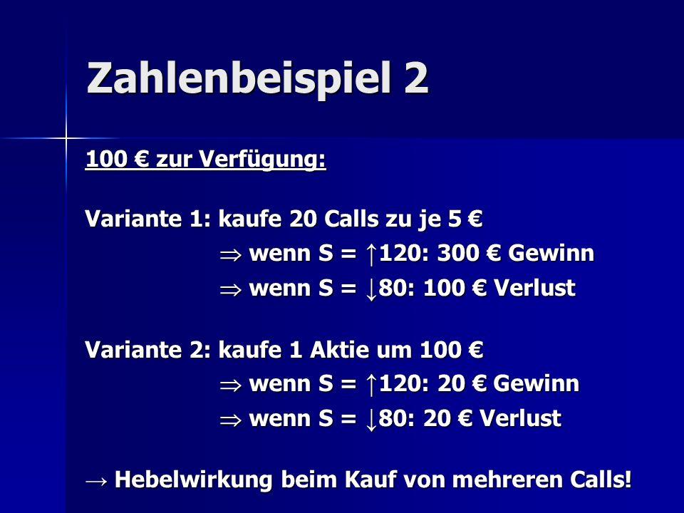 Zahlenbeispiel 2 100 zur Verfügung: Variante 1: kaufe 20 Calls zu je 5 Variante 1: kaufe 20 Calls zu je 5 wenn S = 120: 300 Gewinn wenn S = 120: 300 G