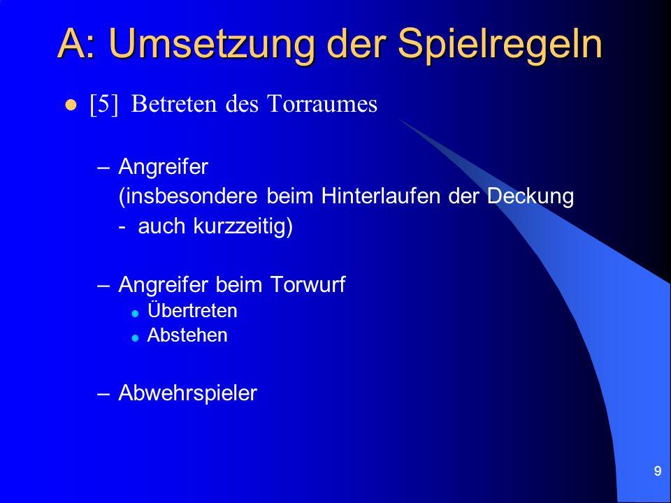 9 A: Umsetzung der Spielregeln [5]Betreten des Torraumes –Angreifer (insbesondere beim Hinterlaufen der Deckung - auch kurzzeitig) –Angreifer beim Torwurf Übertreten Abstehen –Abwehrspieler