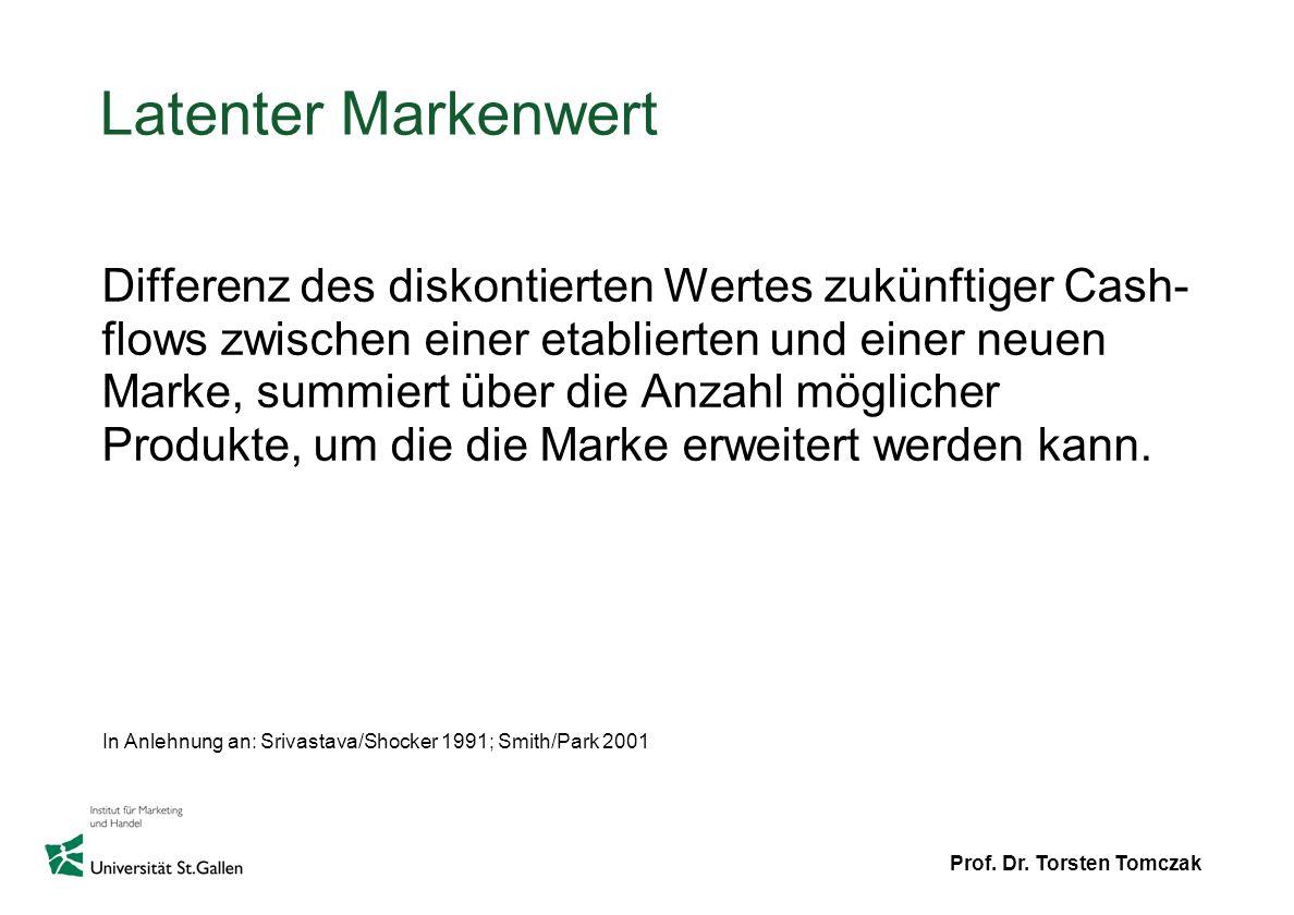 Prof. Dr. Torsten Tomczak Latenter Markenwert Differenz des diskontierten Wertes zukünftiger Cash- flows zwischen einer etablierten und einer neuen Ma