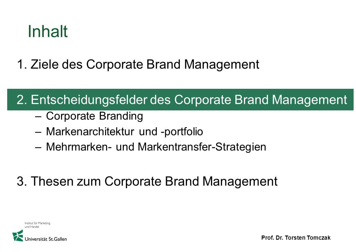 Prof. Dr. Torsten Tomczak Inhalt 1. Ziele des Corporate Brand Management 2. Entscheidungsfelder des Corporate Brand Management –Corporate Branding –Ma
