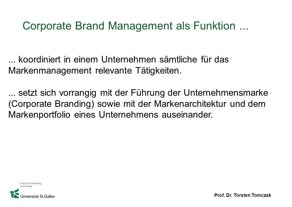Prof. Dr. Torsten Tomczak Corporate Brand Management als Funktion...... koordiniert in einem Unternehmen sämtliche für das Markenmanagement relevante