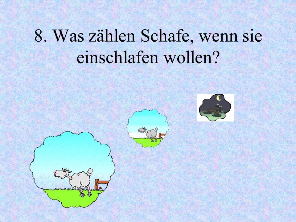 8. Was zählen Schafe, wenn sie einschlafen wollen?
