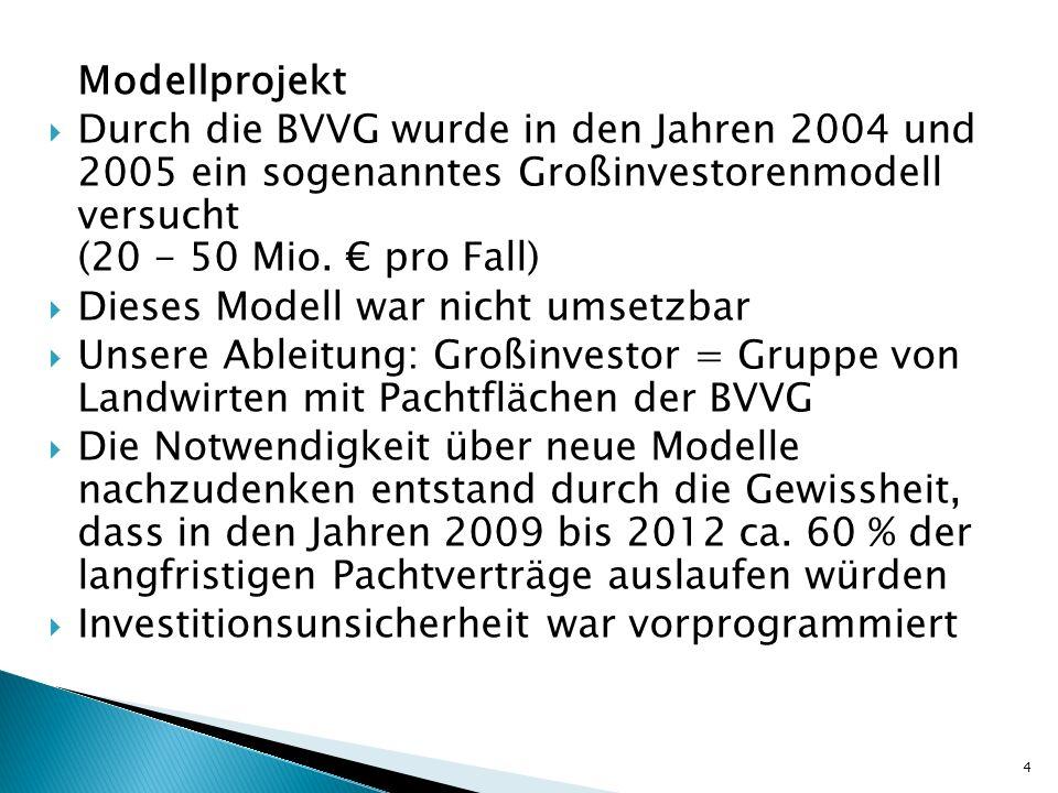 Modellprojekt Durch die BVVG wurde in den Jahren 2004 und 2005 ein sogenanntes Großinvestorenmodell versucht (20 - 50 Mio. pro Fall) Dieses Modell war