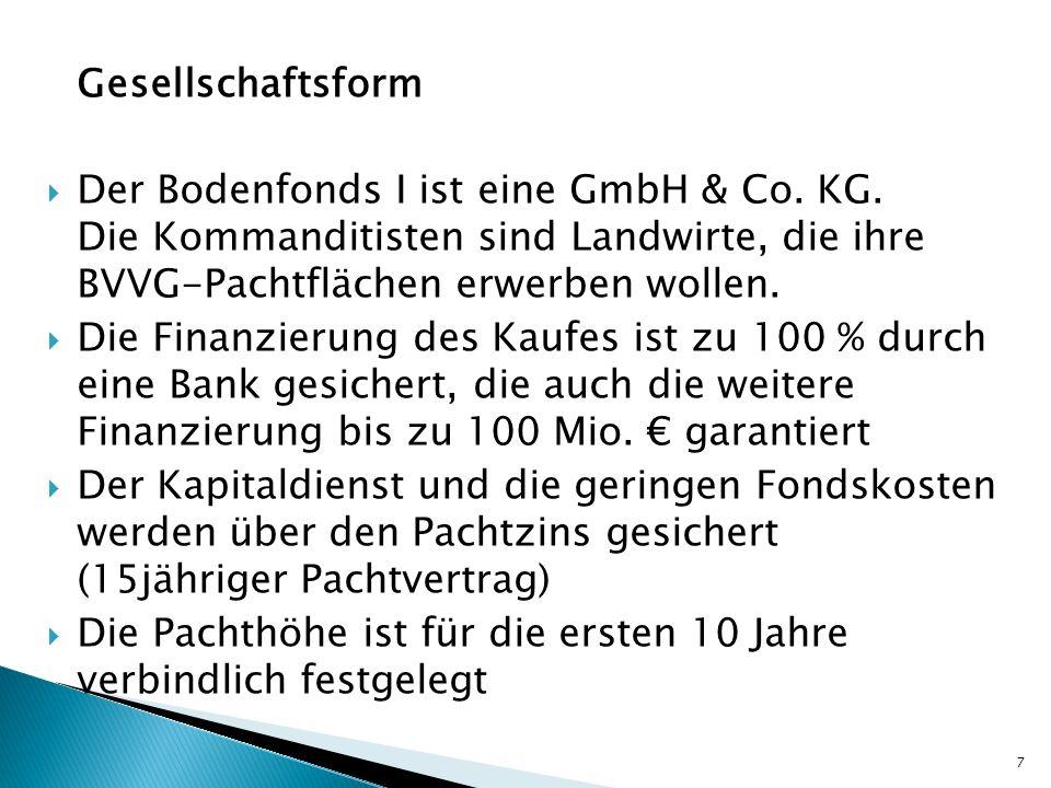 Gesellschaftsform Der Bodenfonds I ist eine GmbH & Co. KG. Die Kommanditisten sind Landwirte, die ihre BVVG-Pachtflächen erwerben wollen. Die Finanzie