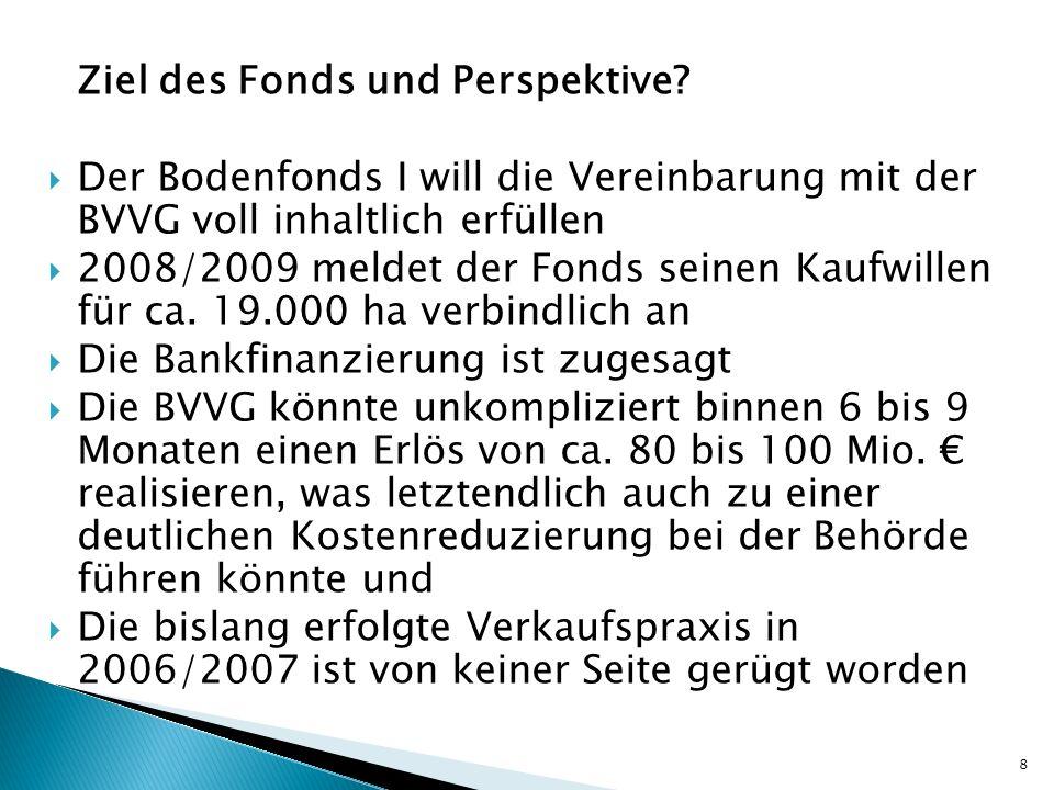 Ziel des Fonds und Perspektive? Der Bodenfonds I will die Vereinbarung mit der BVVG voll inhaltlich erfüllen 2008/2009 meldet der Fonds seinen Kaufwil