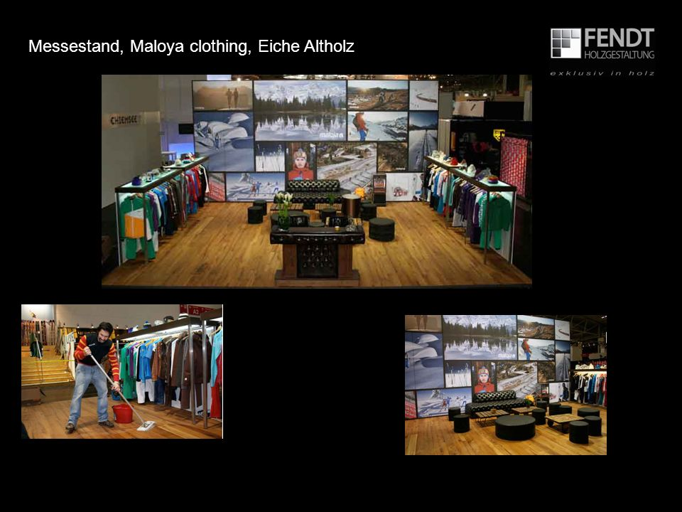 Messestand, Maloya clothing, Eiche Altholz