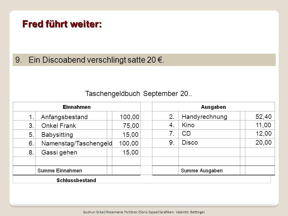 Fred führt weiter: Taschengeldbuch September 20..9.