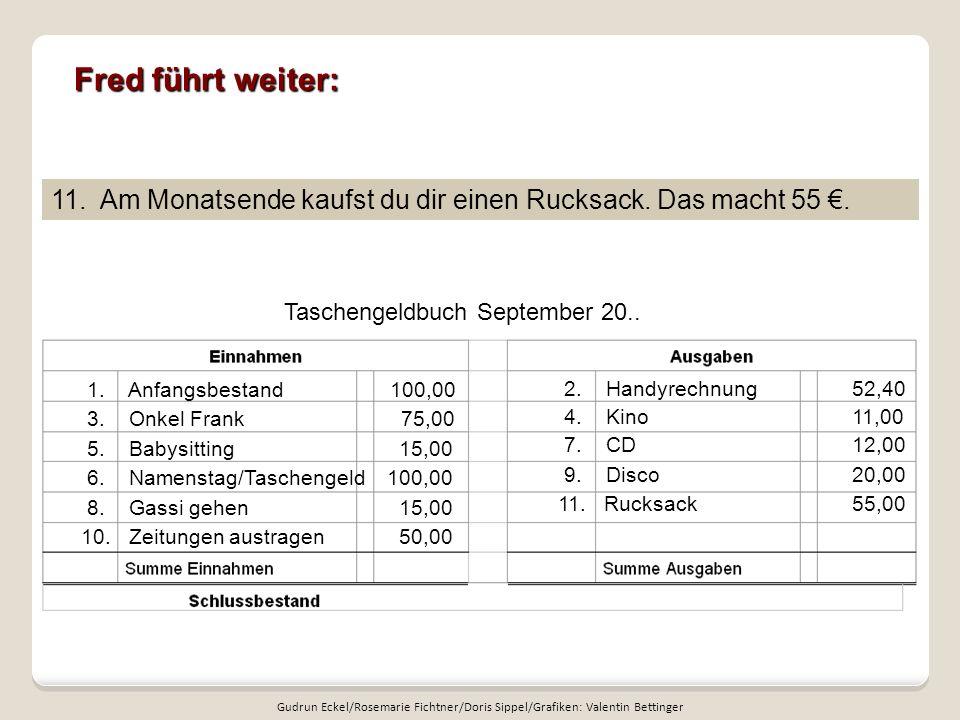 Fred führt weiter: Taschengeldbuch September 20..11.