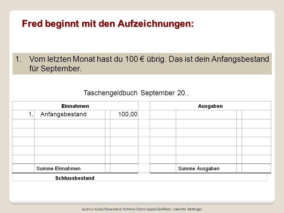 Fred beginnt mit den Aufzeichnungen: Taschengeldbuch September 20.. 1.Vom letzten Monat hast du 100 übrig. Das ist dein Anfangsbestand für September.