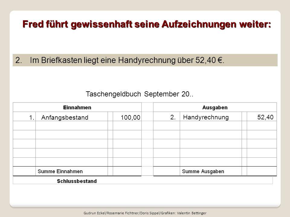 Fred führt gewissenhaft seine Aufzeichnungen weiter: Taschengeldbuch September 20..