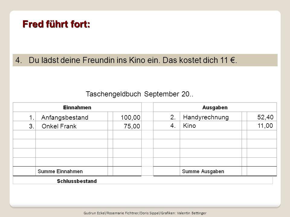 Fred führt fort: Taschengeldbuch September 20..4.